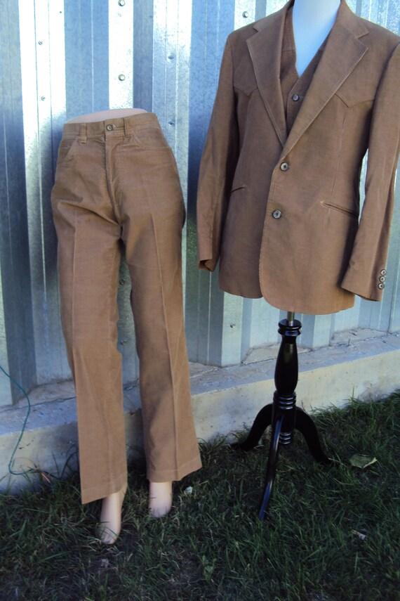 Vintage Mens Golden Brown Panatela Levis Corduroy