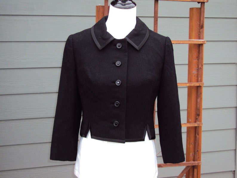 8000d7b23 Vintage Womens Black Lined Neiman-Marcus Short Cropped Jacket Size S/Black  Lined Wool Button Crop Jacket/Special Occasion/Dress Crop Jacket