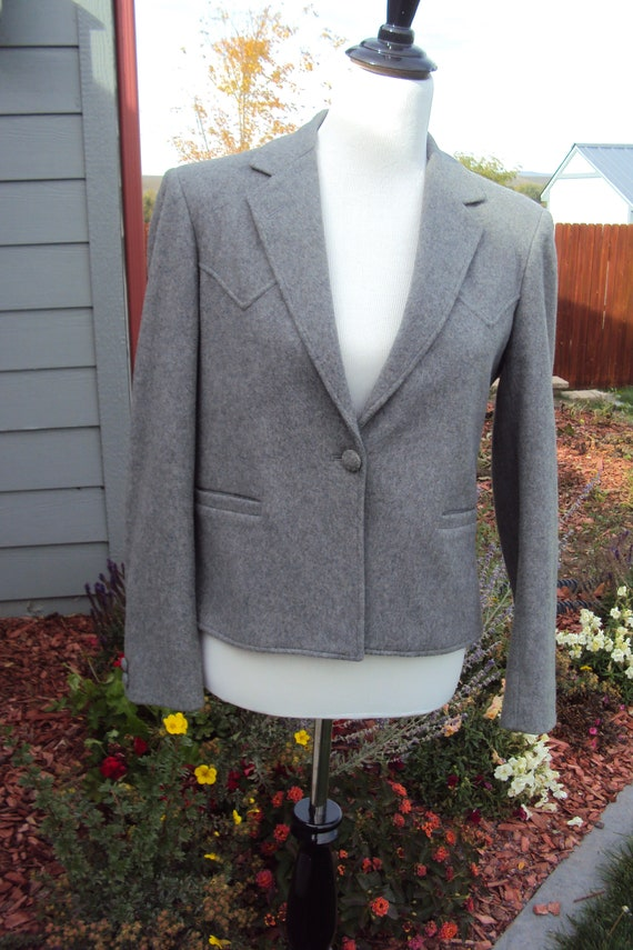1980s Womens Gray Wool Lined Kenny Rogers Western