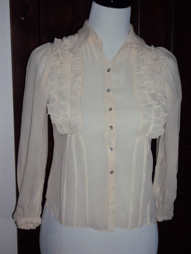 42dba3230b4819 Vintage Womens Ivory Sheer Long Sleeve Ruffled Blouse Size