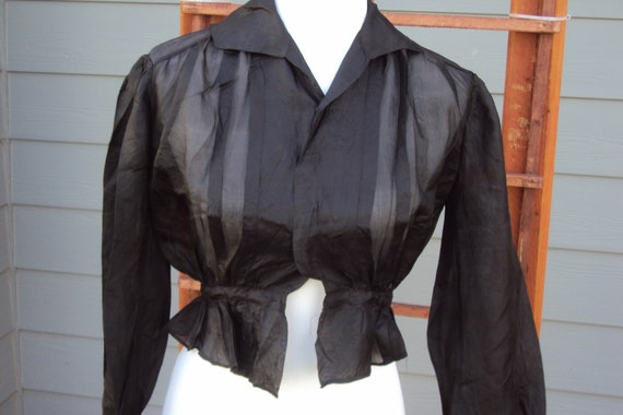 1940s Womens Black Silk/Rayon Sheer Blouse Size S/