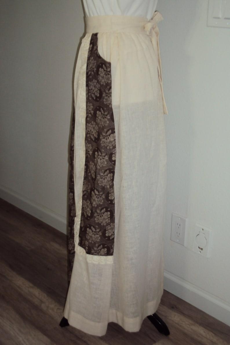 1970s Womens  Toni Todd Ivory Cotton Gauze High Waist Prairie Skirt Size S-MVtg BohoHippie IvoryBrown Floral Maxi SkirtPeasant Maxi Skir