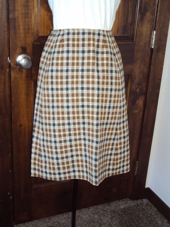 a889435d4 Womens 1960s-70s High Waist Plaid Pendleton Wool Lined Skirt/ | Etsy