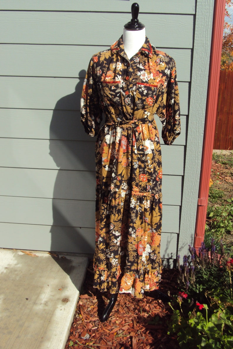 bc9992bf723 1970s Womens Young Edwardian By Arpeja Autumn Fall Maxi Dress