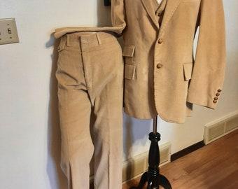 Vintage Mens Tan Corduroy Haggar 3 Piece Suit Size 42R/ Mens 3 Piece Wedding Suits/ Tan Corduroy Suits Size 42R/ Mens Suits/Vests