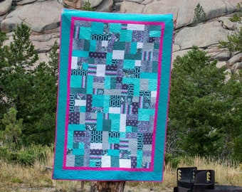 Modern teal and Hot Pink Patchwork Quilt
