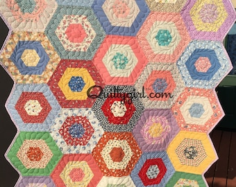 Reproduction 30's print Quilt - Merry GO round Quilt