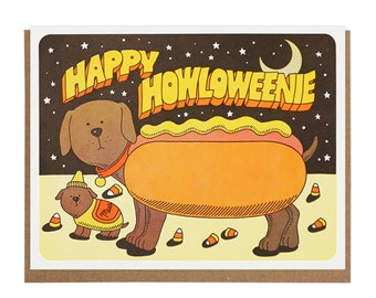 Happy Howloweenie Letterpress Card