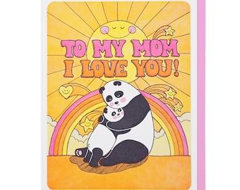 I Love You Mom Panda Letterpress Card