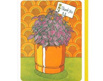 Polka Dot Plant Thank You Letterpress Card