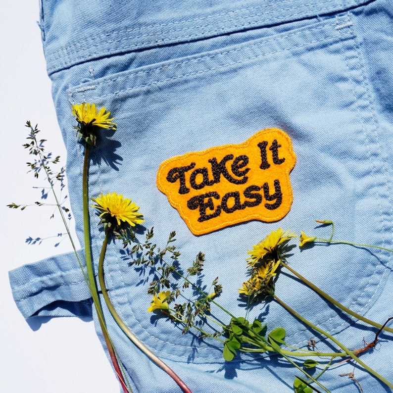 Take It Easy Chain Stitched Patch available in assorted image 0