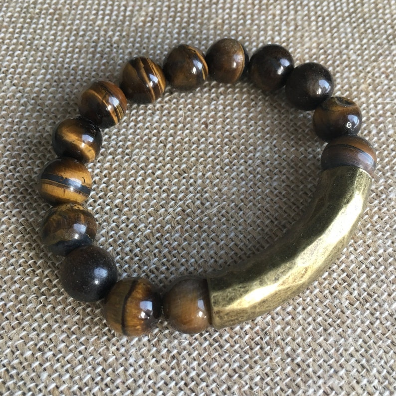 10mm Tiger Eye stretch bracelet with an Antique Bronze hammered tube bead