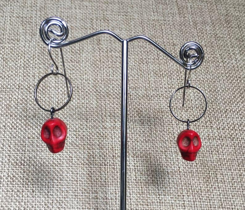Red Skull Dangle Earrings on gunmetal hoop with Sterling Silver Ear Wires