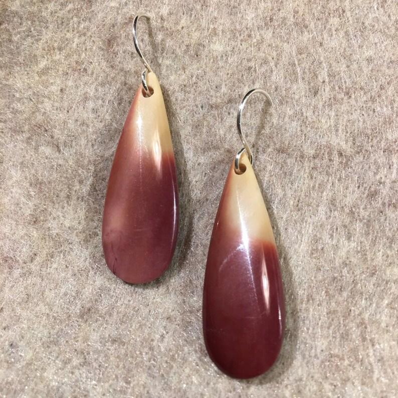 teardrop maroon and mustard Mookaite Jasper Sterling Silver Earring
