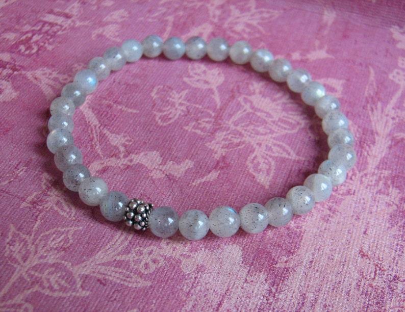 6mm Labradorite stretch bracelet with sterling silver bali bead