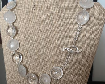 Clear Quartz necklace with Textured Sterling Silver Toggle Clasp