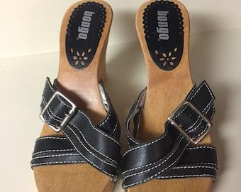 af33c81caf Bongo tango wooden sandals size 7 black   silver studs
