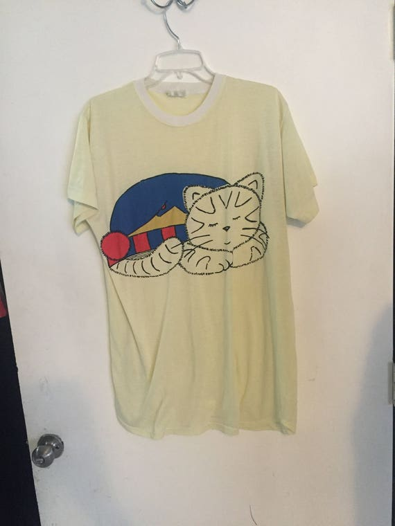 Vintage paper thin tee cat lover japan size XL yel