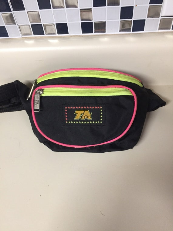 TA black and neon trim fanny pack 90s
