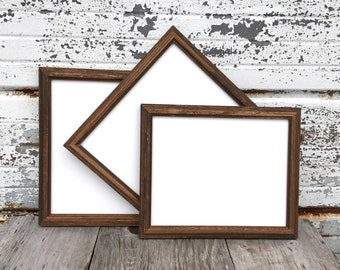 Set Of Three Wooden Picture Frames Rustic Wood Frame You Choose The Size  From 5x7 8x10 8.5x11 10x13 Or 11x14 With Glass
