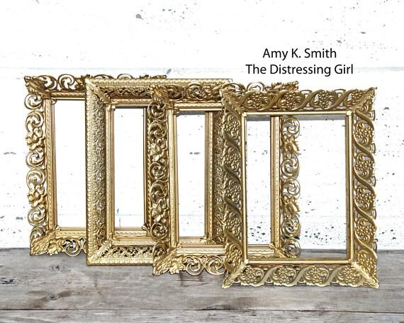 SET OF FOUR 5 By 7 Gold Metal Frames Bulk Wedding Frames Ornate ...