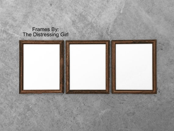 Three 8 X 10 Wooden Picture Frames Dark Wood Frame With Glass Etsy