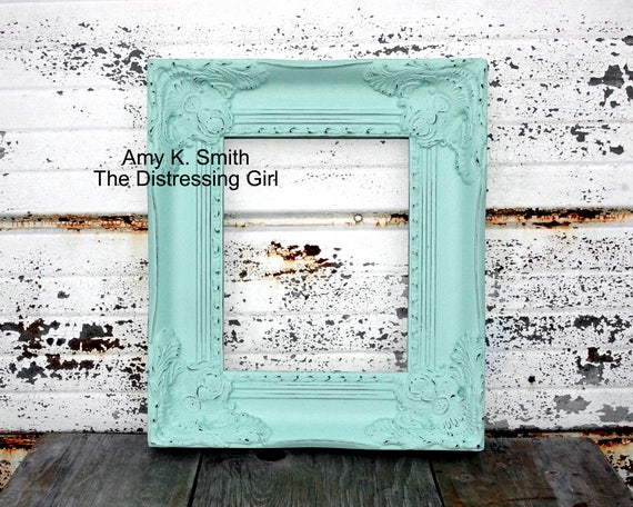 8x10 Mint Green Frame Thick Shabby Chic Vintage Hand Painted Distressed Frame Made to Order