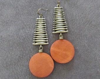 mid century earrings brass modern earrings orange agate statement earrings bronze earrings unique ethnic earrings Minimalist earrings