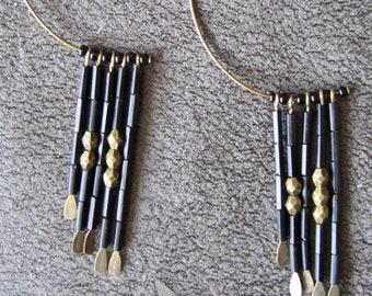 Black and brass hoop earrings
