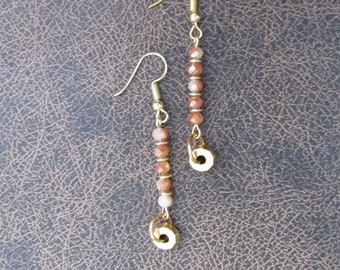Peach and gold beaded dangle earrings
