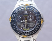 Citizen Eco Drive Skyhawk Blue Angels C650 Cronograph Stainless Steel Men 39 s Pilots Watch