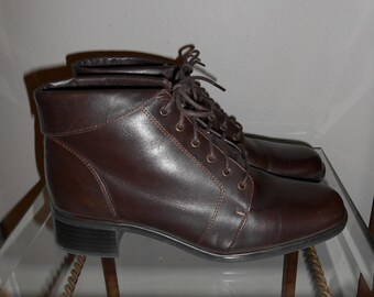 Vintage 90's Brown Leather Folded Lace Up Boots Size 6.5 M