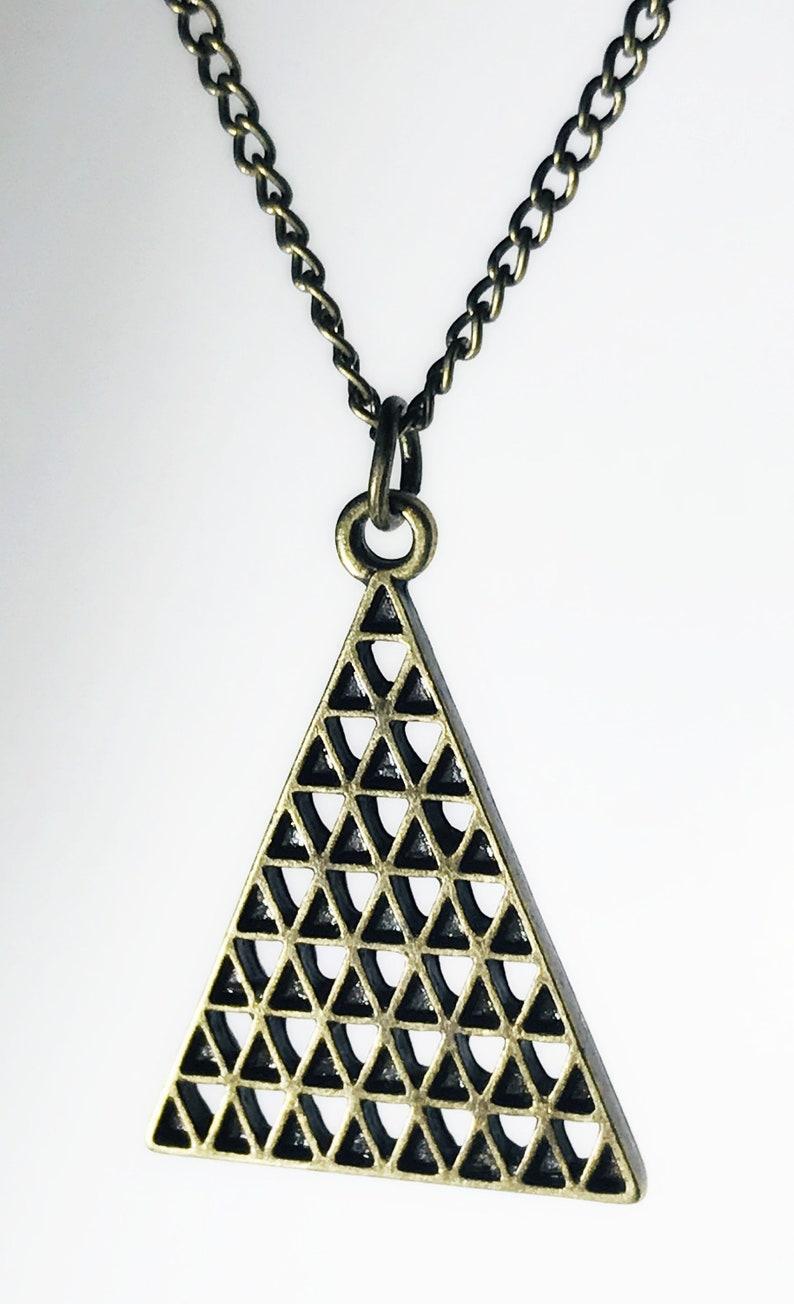 Brass triangle short necklace geometric pendant boho necklace