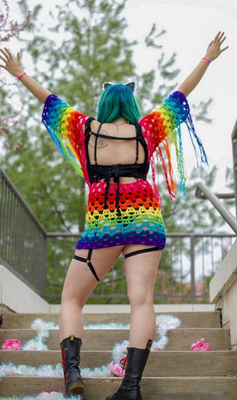 rave Dripping Rainbows crochet dressfestival Burning Man EDC Electric Forest everyday wear pride