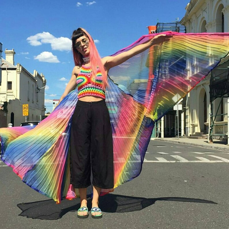 Rainbow Dayz crop top* psychedelic festival top rave yoga hippie clothing  Burning Man edc electric forest pride LGBTQ