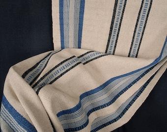 Decor ethnic hemp Hmong fabric handwoven runner neutral natural dye beige green gray stripe tribal ethnic boho handmade unbleached KL52