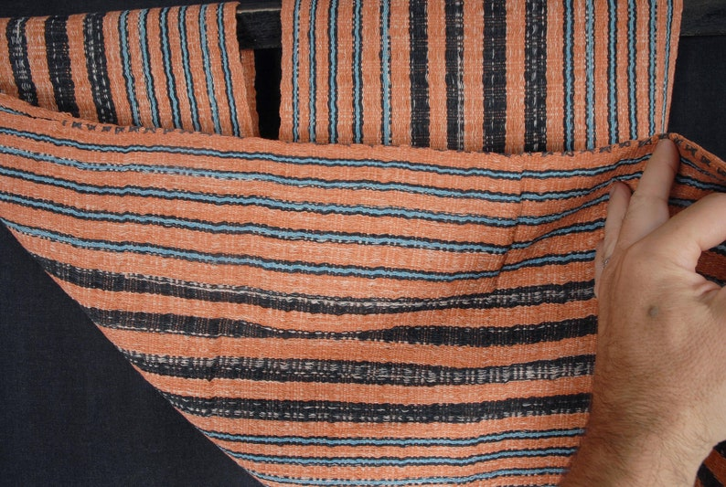 Hmong fabric ethnic tribal textile hilltribe Thailand throw natural organic dye orange black blue Decor pillow boho pillow decor 40 XC49