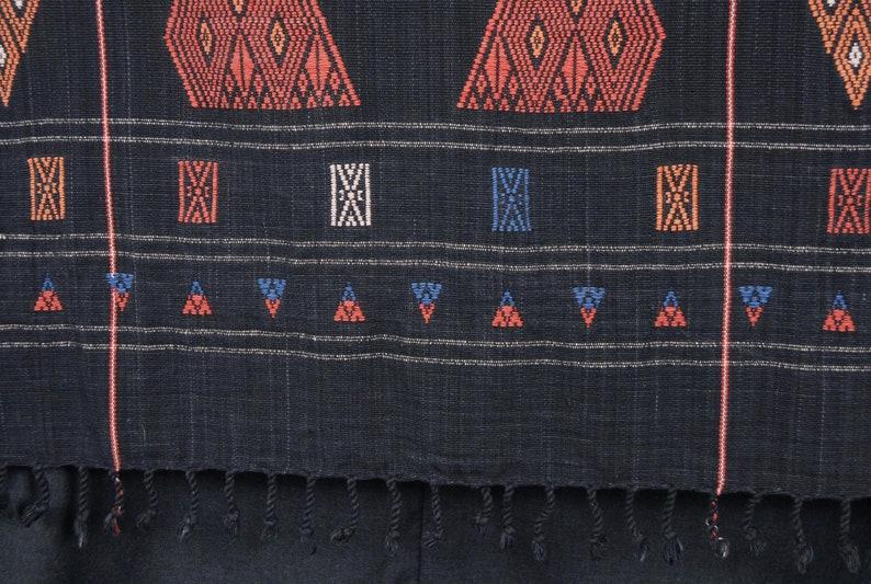 Naga tribal home decor ethnic blanket black red brown orange white handwoven cotton throw tapestry BN96