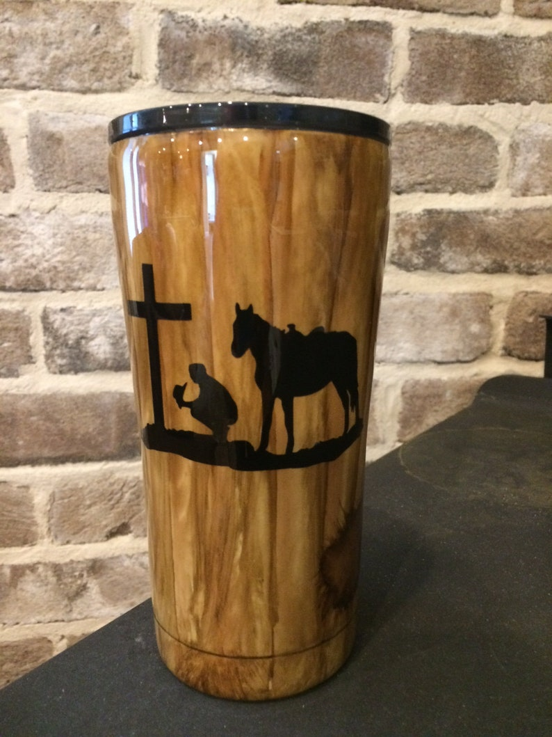 Woodgrain Tumbler Cowboy and Cross Western
