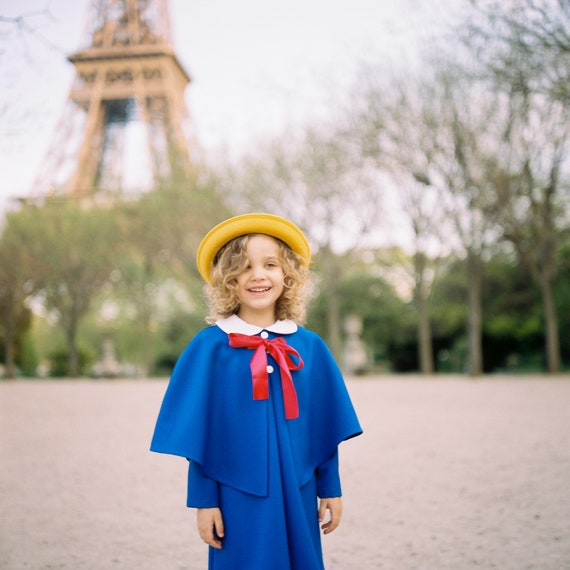 Capelet Royal Blue Toddler Cloak Girls Madeline Cape Peter Pan Collar Poncho Halloween Costume