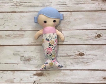 "11"" Mermaid Baby Doll - Mini Mermaid - Snuggle Doll - Cuddle Softie - Soft Doll - Mermaid Rag Doll - Birthday Gift - Periwinkle Floral"