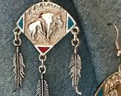 Silver Buffalo Shield Earrings w Inlay