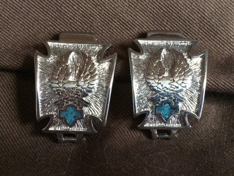Silver HD Biker Eagle /& Turquoise Shield Watchband