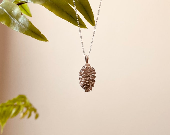 Genuine Pinecone Necklace • sterling pinecone necklace • 18 inch chain