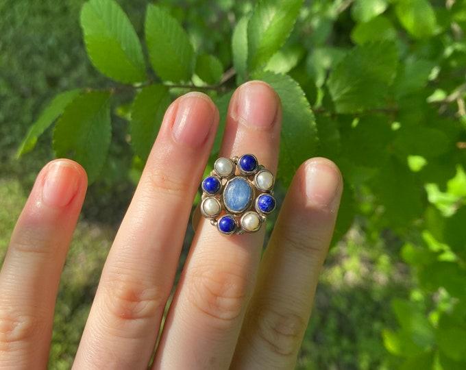Pearl + Lapis + Kyanite Ring size 4