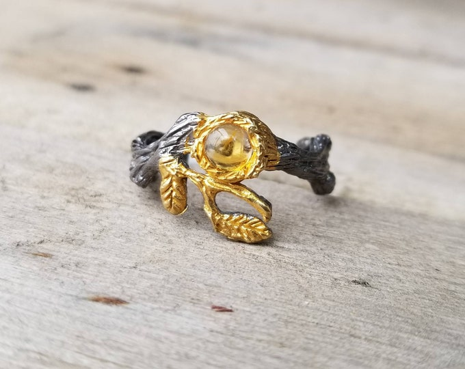 Citrine Branches 925 Silver and Gold Ring size 8