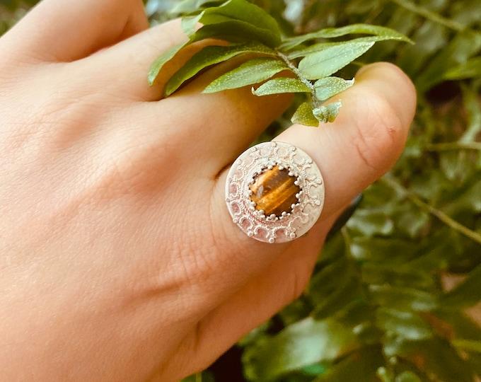 Mandala Tiger Eye Ring size 7.5