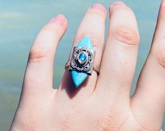 Labradorite & Turquoise Ring size 7