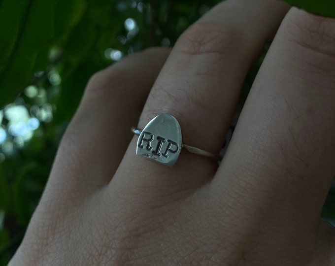 RIP ring • Gravestone ring • Grave Ring • tombstone ring • made to order ring