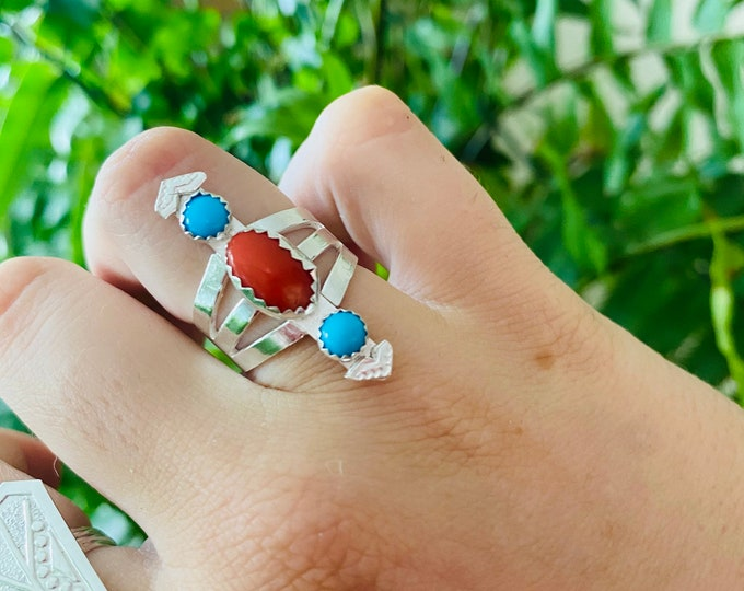 Coral and Turquoise Statement Ring Sz 6